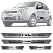 Soleira de Aço Inox Escovado Ford Fiesta 4 Portas 2003 04 05 06 07 08 09 10 11 12