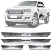 Soleira de Aço Inox Escovado Ford Ranger 4 Portas 2012 13 14 15 16 17 18 19