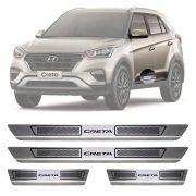 Soleira de Aço Inox Escovado Hyundai Creta 4 Portas 2017 18 19