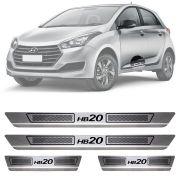 Soleira de Aço Inox Escovado Hyundai Hb20 Hatch 4 Portas 2012 13 14 15 16 17 18 19