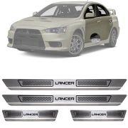 Soleira de Aço Inox Escovado Mitsubishi Lancer 4 Portas 2012 13 14 15 16 17