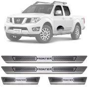 Soleira de Aço Inox Escovado Nissan Frontier 4 Portas 2008 09 10 11 12 13 14 15 16