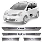 Soleira de Aço Inox Escovado Nissan Livina 4 Portas 2010 11 12 13 14 15