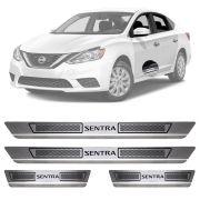 Soleira de Aço Inox Escovado Nissan Sentra 4 Portas 2014 15 16 17 18 19