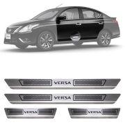 Soleira de Aço Inox Escovado Nissan Versa 4 Portas 2012 13 14 15 16 17