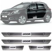 Soleira de Aço Inox Escovado Peugeot 2008 4 Portas 2015 16 17 18 19