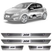 Soleira de Aço Inox Escovado Peugeot 208 4 Portas 2013 14 15 16 17 18 19
