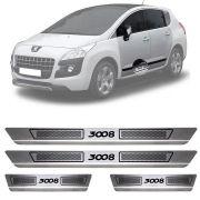 Soleira de Aço Inox Escovado Peugeot 3008 4 Portas 2011 12 13 14 15