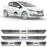 Soleira de Aço Inox Escovado Peugeot 308 4 Portas 2013 14 15