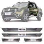 Soleira de Aço Inox Escovado Renault Duster Oroch 4 Portas 2015 16 17 18 19