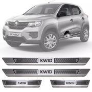 Soleira de Aço Inox Escovado Renault Kwid 4 Portas 2017 18 19