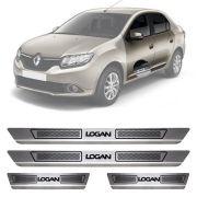 Soleira de Aço Inox Escovado Renault Logan 4 Portas 2012 13 14 15 16 17 18 19