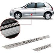 Soleira de Aço Inox Escovado Reta Chevrolet Celta 2000 Até 2015 2 Portas