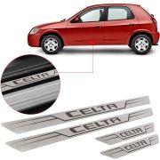 Soleira de Aço Inox Escovado Reta Chevrolet Celta 2000 Até 2015