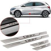 Soleira de Aço Inox Escovado Reta Chevrolet Onix 2012 13 14 15 16 17 18
