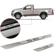 Soleira de Aço Inox Escovado Reta Chevrolet S10 S-10 2012 13 14 15 16 17 18 Cabine Simples