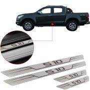 Soleira de Aço Inox Escovado Reta Chevrolet S10 S-10 2012 Até 2017