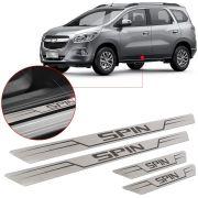 Soleira de Aço Inox Escovado Reta Chevrolet Spin 2013 14 15 16 17