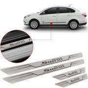 Soleira de Aço Inox Escovado Reta Fiat Grand Siena 2013 Até 2018