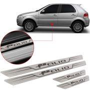 Soleira de Aço Inox Escovado Reta Fiat Palio 2012 13 14 15
