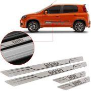 Soleira de Aço Inox Escovado Reta Fiat Uno 2012 Até 2018