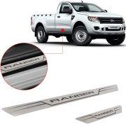 Soleira de Aço Inox Escovado Reta Ford Ranger Cabine Simples 2012 Até 2016 2 Portas