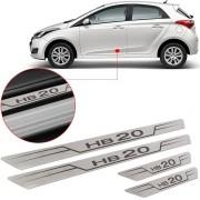 Soleira de Aço Inox Escovado Reta Hyundai Hb20 2013 14 15 16 17 18
