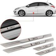 Soleira de Aço Inox Escovado Reta Hyundai I30 2010 11 12 13 14 15 16