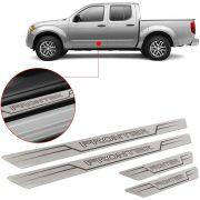 Soleira de Aço Inox Escovado Reta Nissan Frontier 2008 09 10 11 12 13 14 15