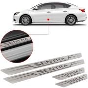 Soleira de Aço Inox Escovado Reta Nissan Sentra 2014 15 16 17
