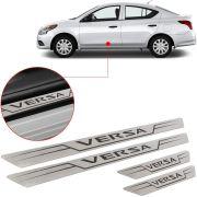 Soleira de Aço Inox Escovado Reta Nissan Versa 2012 13 14 15 16 17 18
