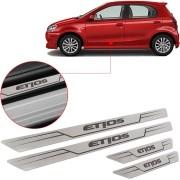 Soleira de Aço Inox Escovado Reta Toyota Etios 2012 13 14 15 16 17 18