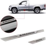 Soleira de Aço Inox Escovado Reta Volkswagen Amarok 2011 Até 2018 2 Portas