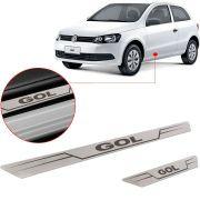 Soleira de Aço Inox Escovado Reta Volkswagen Gol 2000 Até 2016 2 Portas