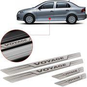 Soleira de Aço Inox Escovado Reta Volkswagen Voyage 2009 Até 2017