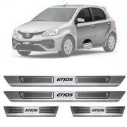 Soleira de Aço Inox Escovado Toyota Etios 4 Portas 2012 13 14 15 16 17 18 19