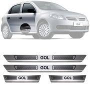 Soleira de Aço Inox Escovado Volkswagen Gol G5 G6 4 Portas 2009 10 11 12 13 14 15 16 17 18 19
