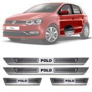 Soleira de Aço Inox Escovado Volkswagen Polo 4 Portas 2012 13 14 15 16 17 18 19