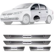 Soleira de Aço Inox Escovado Volkswagen Voyage 4 Portas 2009 10 11 12 13 14 15 16 17 18 19