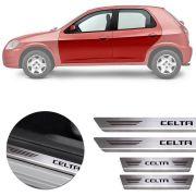 Soleira de Aço Inox Premium Escovado Chevrolet Celta 2000 01 02 03 04 05 06 07 08 09 10 11 12 13 14 15