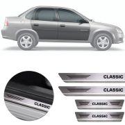 Soleira de Aço Inox Premium Escovado Chevrolet Classic 2011 12 13 14 15 16 17