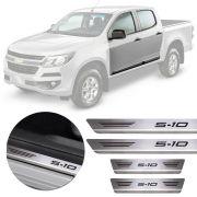 Soleira de Aço Inox Premium Escovado Chevrolet S-10 2012 13 14 15 16 17 18 19 Cabine Dupla