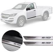 Soleira de Aço Inox Premium Escovado Chevrolet S-10 S10 2012 13 14 15 16 17 18 19 Cabine Simples