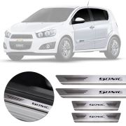 Soleira de Aço Inox Premium Escovado Chevrolet Sonic 2012 13 14 15