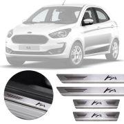 Soleira de Aço Inox Premium Escovado Ford Ka 2014 15 16 17 18 19