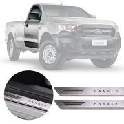 Soleira de Aço Inox Premium Escovado Ford Ranger 2013 14 15 16 17 18 19 Cabine Simples
