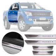 Soleira de Aço Inox Premium Escovado Ford Ranger 2013 14 15 16 17 18 Cabine Dupla
