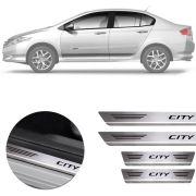 Soleira de Aço Inox Premium Escovado Honda City 2014 15 16 17 18 19