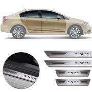 Soleira de Aço Inox Premium Escovado Honda Civic 2012 13 14 15 16
