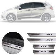 Soleira de Aço Inox Premium Escovado Honda Fit 2014 15 16 17 18 19